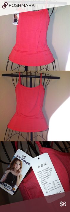 Pink tank top, size M, made in China, STRAPPY top NEW WITH TAGS, made in China, tags have Oriental writting, size Medium, spaghetti strap tank top, hot pink, poly&spandex mixed fabric. Original price -$12.49, new with tags- not boutique. yilaisi Tops Tank Tops