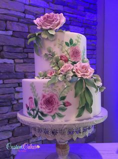 One of our new display cakes that we showed at Woodstone Country Club's bridal fair today. A husband and wife collaboration – Mike did the hand-painting, and I did the sugar flowers. Wedding Cake Display, Wedding Cake Toppers, Wedding Cakes, Party Wedding, Wedding Ideas, Gorgeous Cakes, Pretty Cakes, Amazing Cakes, Bolo Floral