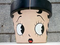 Betty Boop hand painted flower pot. $25.00, via Etsy.