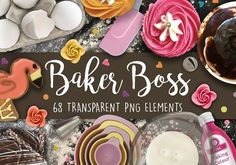 Baker Boss PNG Scene Creator by Make-a-scene on Scene Creator, The Creator, Slate Board, Icing Nozzles, Queen Cakes, Flip Image, Cupcake Tray, Iced Biscuits, Cracked Egg