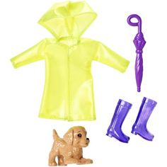 Barbie Club Chelsea Accessory Pack, Rainy Day-Themed Clothing and Accessories for Small Dolls, 4 Pieces for 3 to 7 Year Olds Include Raincoat, Umbrella and Puppy Barbie Doll Accessories, Doll Clothes Barbie, Barbie Toys, Barbie I, Clothing Accessories, Barbie Doll Stuff, Barbies Dolls, Barbie Style, Barbie Chelsea Doll