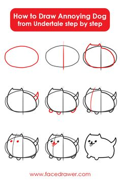 Learn how to draw Annoying Dog from Undertale Step by Step Undertale Dog, Undertale Drawings, How To Draw Undertale, How To Draw Sans, Learn To Draw, Pretty Drawings, Easy Drawings, Easy Patterns To Draw, Hand Doodles