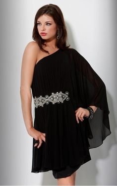 Cowl One-Shoulder Chiffon Cocktail Dress Style Cocktail Dresses With Sleeves, Cheap Cocktail Dresses, V Neck Cocktail Dress, Black Cocktail Dress, One Shoulder Prom Dress, One Shoulder Cocktail Dress, Short Dresses, Prom Dresses, Formal Dresses