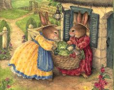 Bunny ladies ooh and ahh over the veggies from the Garden! Susan Wheeler, Cute Images, Cute Pictures, Les Moomins, Jig Saw, Easter Bunny Pictures, Alfabeto Animal, Beatrice Potter, Bunny Art