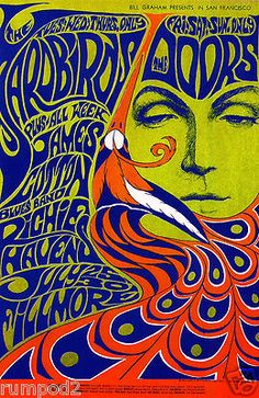 Vintage/Concert/Music Poster /The Doors/Richie Havens/1967 Psychedelic Poster