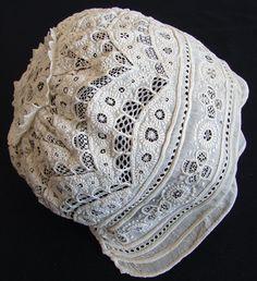 Maria Niforos - Fine Antique Lace, Linens & Textiles : Antique Christening Gowns & Children's Items # CI-31 Elaborate 19th C. Christening Bonnet