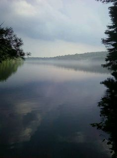 Lake Chamberlain in Bethany, CT on a foggy day.
