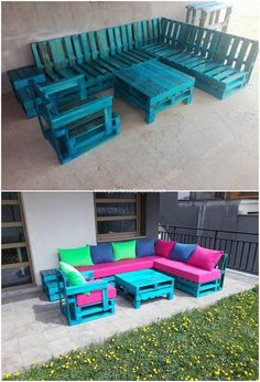 Colorful and much stylish, this is what this image of couch and table set has been showing you out with. Majority of the houses have the outdoor furniture setting being done with the wood pallet working being part of it in attractive crafting piece work. Dining Furniture Sets, Outdoor Furniture Plans, Simple Furniture, Repurposed Furniture, Pallet Furniture, Home Furniture, Wood Pallet Recycling, Recycling Projects, Pallet Seating