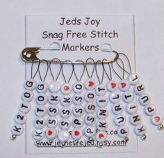 SnagFree Knitting Stitch Markers Set of 10 Knitting Words and Abbreviations Medium Loop Crochet Tools, Thread Crochet, Crochet Crafts, Knit Crochet, Knitting Socks, Loom Knitting, Knitting Stitches, Knitting Supplies, Yarn Ball
