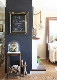 chalkboard wall and quote