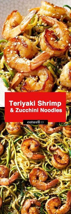 Stir Fry Shrimp and Zucchini Noodles – A delicious, low-carb, healthy weeknight dinner made with spiralized zucchini and shrimp with teriyaki sauce and toasted sesame seeds. This stir fry is so qui… paleo dinner fish Zucchini Noodle Recipes, Zoodle Recipes, Spiralizer Recipes, Zucchini Noodles, Seafood Recipes, Seafood Pasta, Vegetable Noodles, Tapas Recipes, Healthy Zucchini