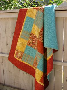 Lap Quilt Throw Blanket Bed Coverlet Tangerine and by susiquilts, $175.00
