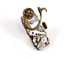 Steampunk Pin, Tie Tack, Medieval Creature, Vintage Watch Movement