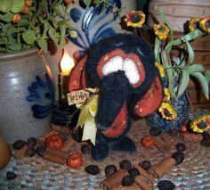 "Primitive Halloween Black Elephant Bear 5"" Witch Doll Vtg Patti's Ratties OOAK"