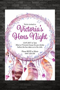 Dream Catcher Hen's Night Invitation Ladies Night Out Pink Boho Feathers Aztec Hippy Hippie Decoration Hens Night Invitations, Victoria House, Ladies Night, Youre Invited, Hippy, Etsy Store, Aztec, Rsvp, Feathers