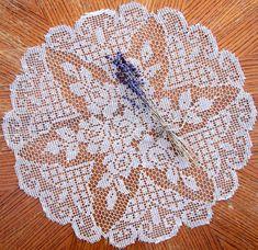 Crocheted Ecru Lace ROSE Doily... No pattern...