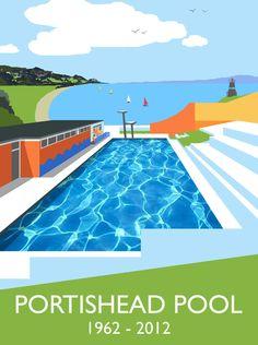 Art Prints of Portishead, Clevedon, Bristol and Bath Somerset England, Fine Art Prints, Framed Prints, Bristol Uk, Outdoor Pool, Order Prints, Giclee Print, Vibrant Colors, Swimming