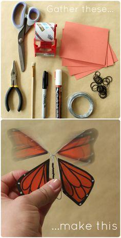 ReFab Diaries: DIY: Wind-up paper butterflies . Flying Butterfly Card, Diy Butterfly, Butterfly Template, Paper Butterflies, Crown Template, Butterfly Mobile, Heart Template, Flower Template, Paper Butterfly Crafts