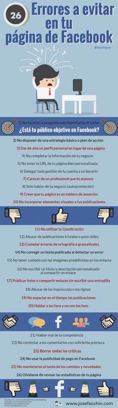 Errores que no debes cometer en tu fanpage de Facebook #Infografía  https://cuambaz.com