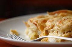 Batatas, repolho e maçãs gratinadas. É, é isso mesmo.