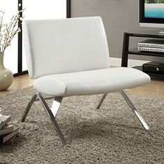 Monarch Specialties White Leather and Chrome Modern Accent Chair ** More info could be found at the image url. (This is an affiliate link) #LivingRoomFurniture