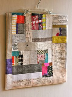 One Shabby chick: pillow swap. Low volume parts with brights Improv Quilting Mini Quilts, Scrappy Quilts, Small Quilts, Quilting Projects, Quilting Designs, Sewing Projects, Quilt Art, Contemporary Quilts, Quilted Pillow