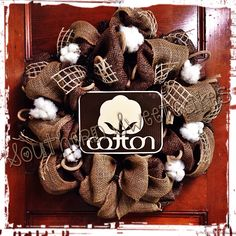 Cotton Wreath with real Southeast Missouri Cotton Bolls!
