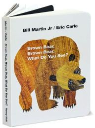 Brown Bear, Brown Bear: practice prosody-sing song the book in same way each time.  Vocab words include colors and animals and action word- see