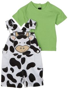 Mud Pie Baby Eieio Cotton Overall Shorts and Tee-Shirt Set, Cow, 0 - 6 Months