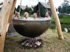outdoor cauldron tub
