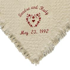 custom Personalized Heart With Wedding Rings Afghan Throw pgs830141645