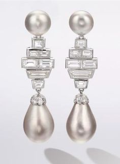 Natural Saltwater Pearl and Diamond Pendent Earrings