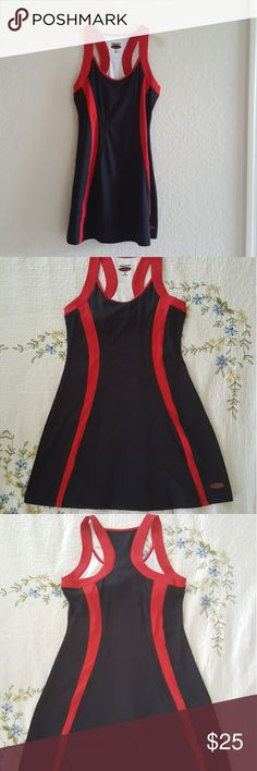 Red and Blue  sleeveless and scoop-neck dress Nice dress.Good Condition. Bolle Dresses Midi