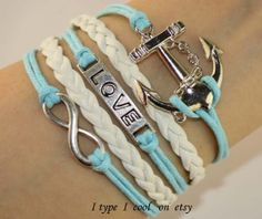 Infinity bracelet love anchor charm bracelet by itypeicool on Etsy, $3.99