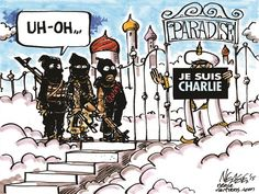 Wrong door you piece of shits. Y'all choose door number two. An eternity in hell! Enjoy that paradise, compliments of the American people. Satire, Freedom Quotes, Charlie Hebdo, Animal Activist, Number Two, Illustrations, Political Cartoons, Atheist, Artist