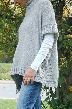 Remy is an easy to knit poncho pattern. A great transition piece you can wear when a coat is too much and a sweatshirt just doesnt measure up! Look