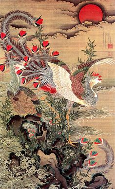 ITO Jakuchu (1716-1800), Japan 伊藤 若冲. was a Japanese painter of the mid-Edo period when Japan had closed its doors to the outside world. Many of his paintings concern traditionally Japanese subjects, particularly chickens and other birds. Many of his otherwise traditional works display a great degree of experimentation with perspective, and with other very modern stylistic elements.