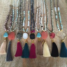 Long Beaded Tassel Necklace with Druzy by MeghanBoDesigns on Etsy
