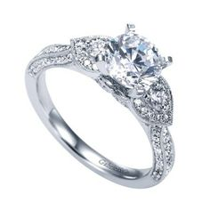 White Gold Floral Inspired Three Stone Diamond Engagement Ring @ Wedding Day Diamonds
