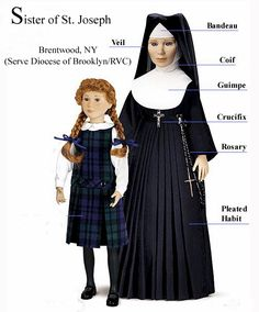Weren't we all taught by them? But what did they wear under that guimpe? Every year our catholic school used to raffle off a nun doll. A nun doll! Nun Outfit, Catholic School Girl, Nuns Habits, Crochet Dolls Free Patterns, Bride Of Christ, School Girl Outfit, Barbie, Cosplay Outfits, Modern Fashion