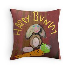 'Happy Bunny' Throw Pillow by Framed Prints, Canvas Prints, Art Prints, Iphone Wallet, Iphone Cases, Floor Pillows, Throw Pillows, Wood Art, Duvet Covers