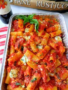 This rigatoni would be served at any picnic in the Pittsburgh area. Except it will be cold and the sauce would be dried up.