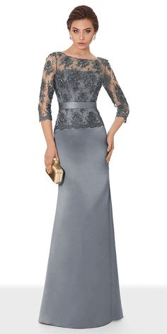 Classic Satin Scoop Neckline Length Sleeves Sheath/Column Evening Dress With Beaded Lace Appliques & Sash Fabric: Satin Details: Classy and stunning, this m Modest Dresses, Nice Dresses, Bridesmaid Dresses, Prom Dresses, Wedding Dresses, Mother Of Groom Dresses, Mothers Dresses, Prom Dress Shopping, Stunning Dresses