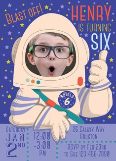 Space Birthday Party Invitation for boy or girl by SandyFordDesign