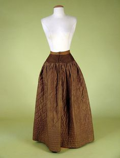 Brown Silk Quilted Petticoat, 1830-1845 -Tasha Tudor collection auction Lot 80 $230