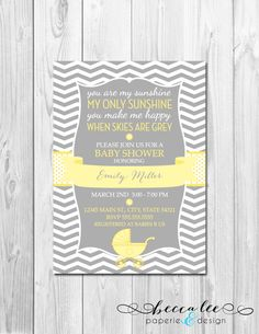You Are My Sunshine Baby Shower Invitation - Chevron Stripes - DIY - Printable via Etsy