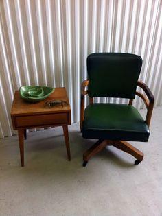 Mid Century Green Wooden Desk Chair
