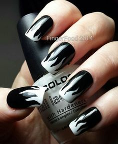 25 Creative Black And White Nail Design Ideas Black And White Nail Art Designs Rock Nail Art, Rock Nails, Fire Nails, Black And White Nail Designs, Black And White Nail Art, Diy Nails Dots, Nail Art Designs, Funky Nails, Nail Decorations