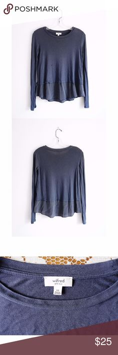 "Aritzia Wilfred Slate Grey Balsamine Shirt sz XXS Aritzia Wifred Slate Grey 'Balsamine T-Shirt' with Silk Trim size 2XS extra extra small, very good used condition--no rips or stains, two small pinholes at neckline--see pic 4, article# 54284, style# TNS4-1695-44, crew neck, long sleeves, slightly cropped body with long silk trim at hem, relaxed fit, top 100% rayon, bottom 100% silk, 15"" across shoulders, 17"" pit to pit, 17.5"" shoulder to hem, 22"" shoulder to hem of trim Aritzia Tops Tees…"