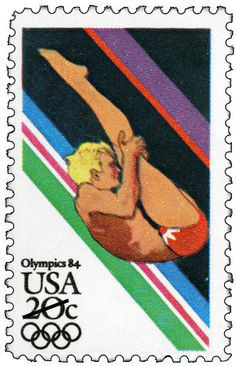 Issued in 1984, this stamp featuring men's diving was part of a set of four commemorating the 1984 Summer Olympics in Los Angeles, California.